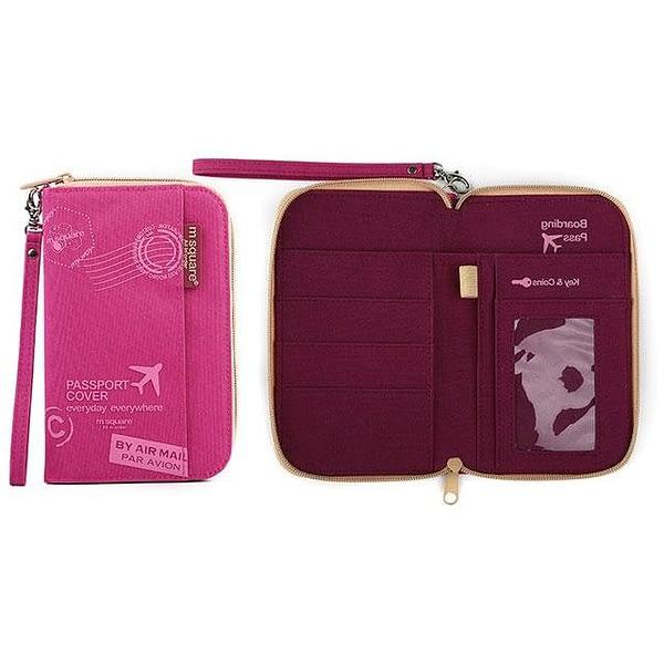DOP-049 Компактный органайзер для документов, посадочных талонов, билетов, купюр и паспортов розовый с принтом фото в развороте