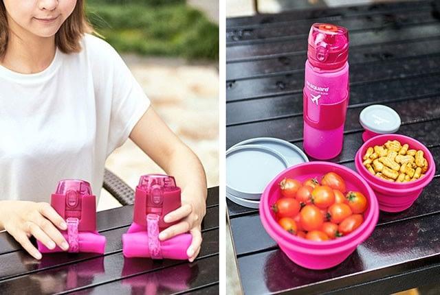 Фото розовая силиконовая бутылочка для воды свернутая и на столе. Товары для отдыха. Интернет-магазин В Отпуск