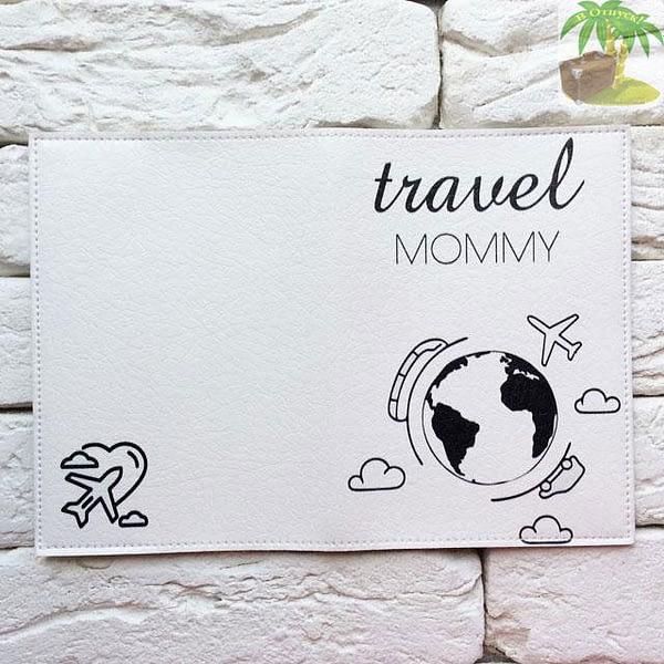 Обложка на паспорт Travel Mommy белая арт 034 Фото 2