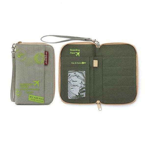 DOP-048 Компактный органайзер для документов, посадочных талонов, билетов, купюр и паспортов серый с принтом фото в развороте