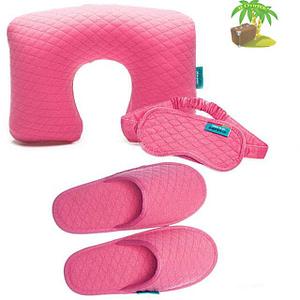 Главное фото розовый тревел-сет: подушка, маска для сна и тапочки. Товары для отдыха. Интернет-магазин В Отпуск