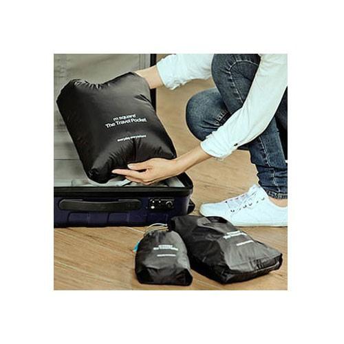 MS-014 Набор черных водонепроницаемых мешочков для белья фото в багажной сумке. Товары для отдыха. Интернет-магазин В Отпуск
