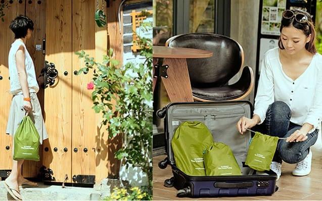 MS-013 Набор зеленых водонепроницаемых мешочков для белья фото в использовании 1. Товары для отдыха. Интернет-магазин В Отпуск