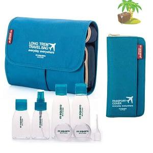 Главное фото синий подарочный набор: косметичка, органайзер и набор бутылочек. Товары для отдыха. Интернет-магазин В Отпуск