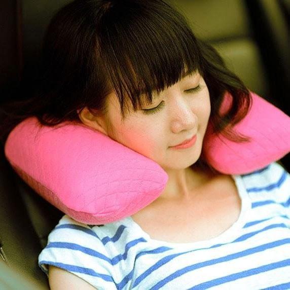 MS-062-Надувная подушка розовая фото в использовании 1