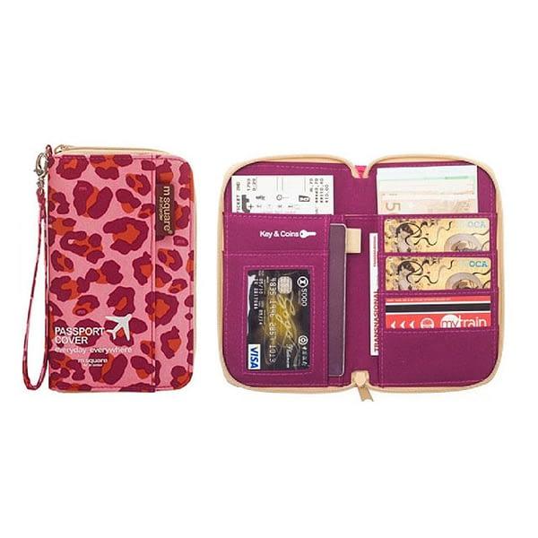 DOP-029 Компактный органайзер для документов, посадочных талонов, билетов, купюр и паспортов розовый леопард фото в развороте