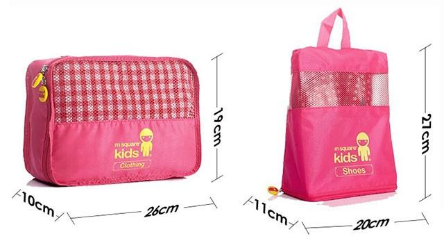 MS-001K Фото 2 размеры элементов розовый детский набор сумок из 4х элементов. Товары для отдыха интернет-магазин В Отпуск