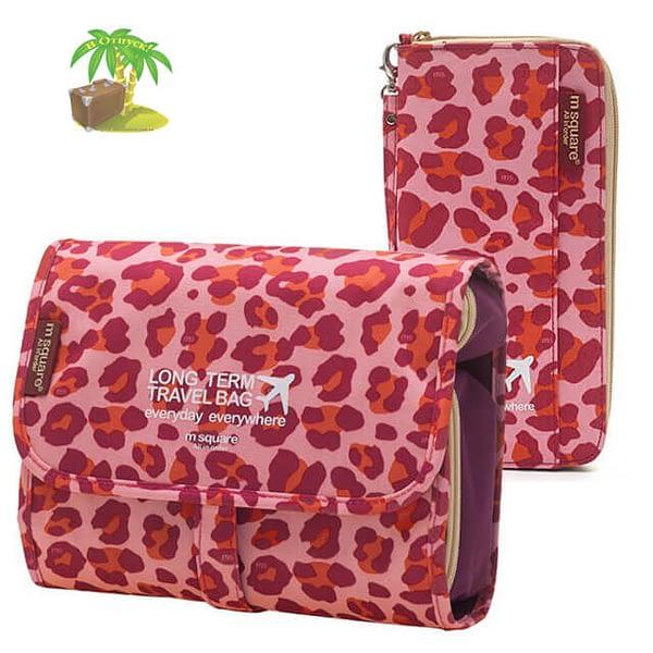 Главное фото розовый леопардовый набор косметичка и органайзер. Товары для отдыха. Интернет-магазин В Отпуск