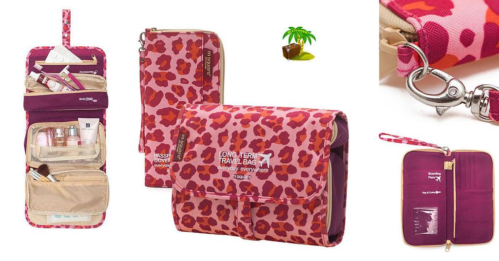 Фото для соцсетей розовый леопардовый набор косметичка и органайзер. Товары для отдыха. Интернет-магазин В Отпуск