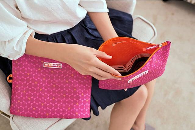 Фото удобство мешочков на молнии розовый ромбик. Товары для отдыха. Интернет-магазин В Отпуск