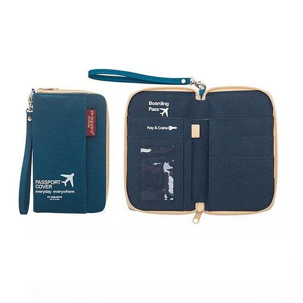DOP-044 Компактный органайзер для документов, посадочных талонов, билетов, купюр и паспортов синий фото в развороте