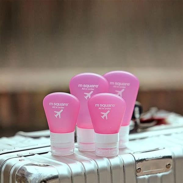 MS-029 Фото набор баночек с помпой розовый на чемодане. Товары для отдыха. Интернет-магазин В Отпуск