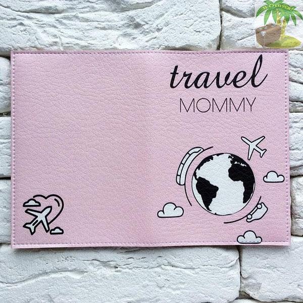 Обложка на паспорт Travel Mommy розовая арт 119 Фото 4