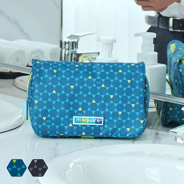 Фото анфас синей дорожной косметички в ромбики. Товары для отдыха. Интернет-магазин В Отпуск