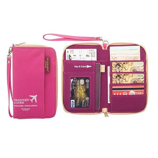 DOP-028 Компактный органайзер для документов, посадочных талонов, билетов, купюр и паспортов розовый фото в развороте