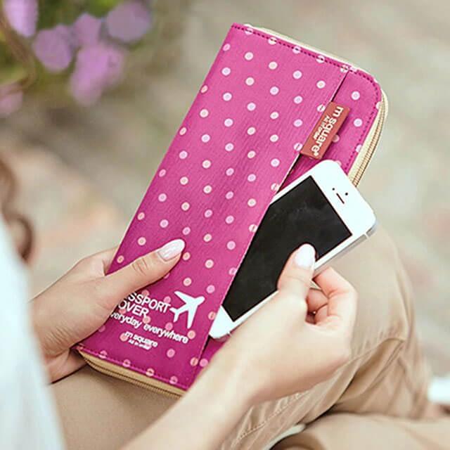 Фото картхолдер розовый в горошек в подарочном наборе органайзеров Тройка