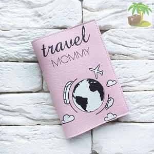 Обложка на паспорт Travel Mommy розовая арт 119 Фото 1