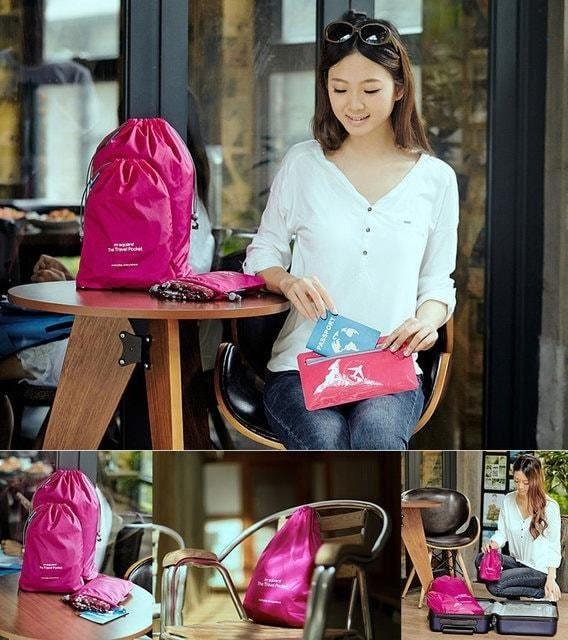 MS-015 Набор розовых водонепроницаемых мешочков для белья фото в использовании. Товары для отдыха. Интернет-магазин В Отпуск