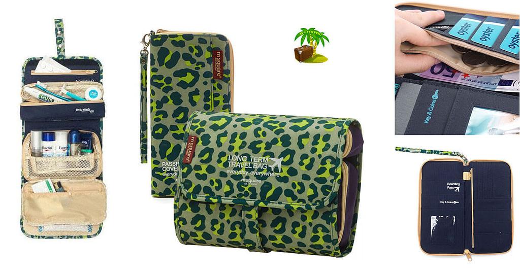 Фото для соцсетей зеленый леопардовый набор косметичка и органайзер. Товары для отдыха. Интернет-магазин В Отпуск