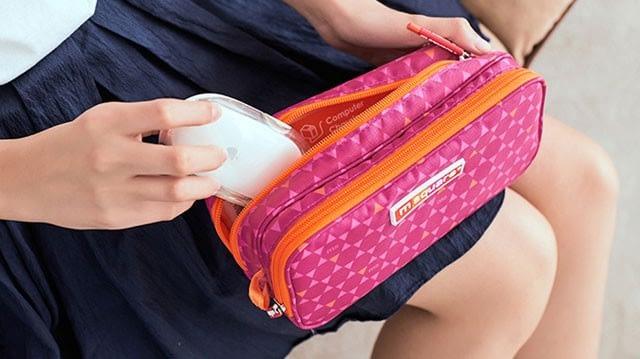 Фото упаковка мышки для ноутбука в органайзер для гаджетов розовый ромб. Товары для отдыха. Интернет-магазин В Отпуск