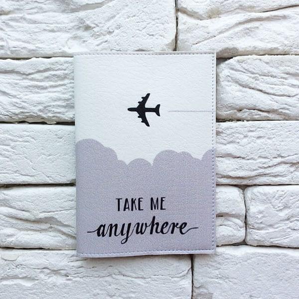 Фото анфас паспортная обложка Take me anywhere gray. Коллекция обложек Путешествуй!