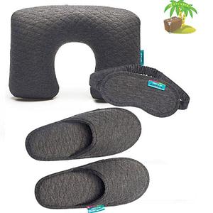 Главное фото серый тревел-сет: подушка, маска для сна и тапочки. Товары для отдыха. Интернет-магазин В Отпуск