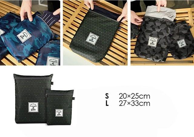 Фото размеры двух карманов для одежды в наборе дорожных сумочек. Товары для отдыха. Интернет-магазин В Отпуск