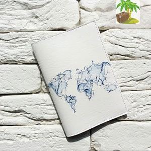 Главное фото паспортная обложка Travel бело-голубая. Коллекция Путешествуй!