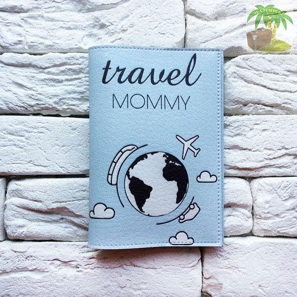 Обложка на паспорт Travel Mommy голубая арт 106 Фото 3