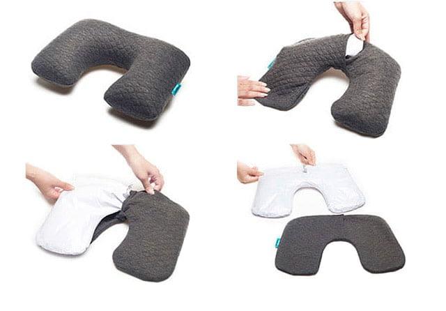 Фото снятие чехла для стирки с надувной подушки для путешествий