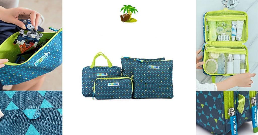 Фото для соцсетей подарок маме синий. Набор косметичка, органайзер для гаджетов и мешочки на молнии