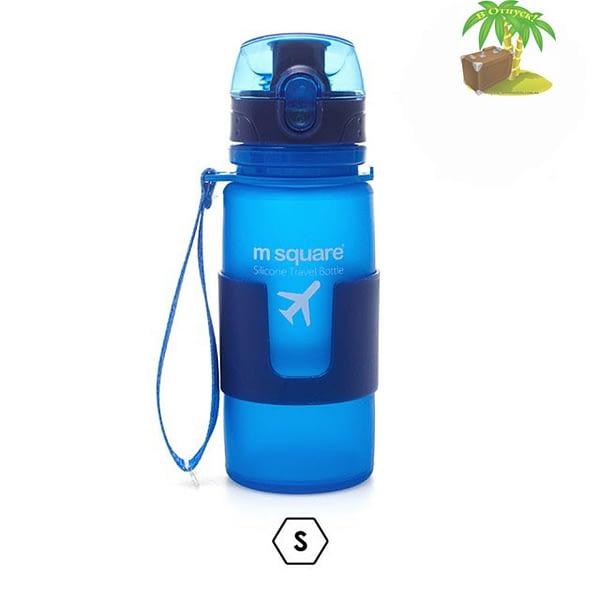 Главное фото голубая бутылка для воды из мягкого силикона размер S 350мл. Товары для отдыха. Интернет-магазин В Отпуск