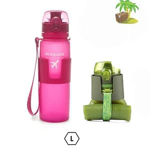 Главное фото розовая бутылка для воды из мягкого силикона размер L 500мл. Товары для отдыха. Интернет-магазин В Отпуск