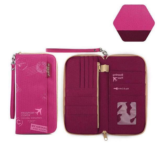 Фото тканевый дорожный органайзер для документов розовый принт с разворотом. Товары для отдыха. Интернет-магазин В Отпуск