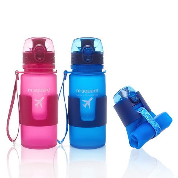 Фото матовые бутылочки 350мл из мягкого силикона розовая и голубая. Товары для отдыха. Интернет-магазин В Отпуск