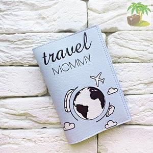 Обложка на паспорт Travel Mommy голубая арт 106 Фото 1