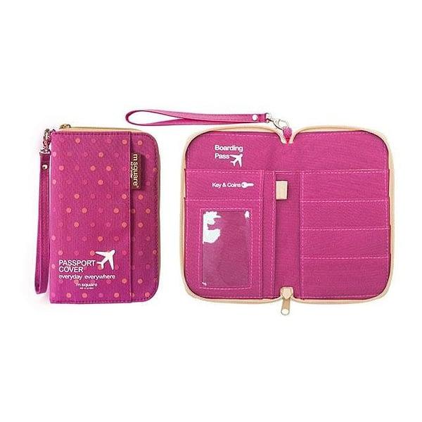 DOP-045 Компактный органайзер для документов, посадочных талонов, билетов, купюр и паспортов розовый горошек фото в развороте