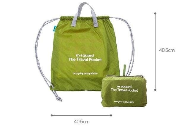 Фото габариты зеленой сумки-рюкзака из водонепроницаемой ткани для путешествий и спорта. Товары для отдыха. Интернет-магазин В Отпуск