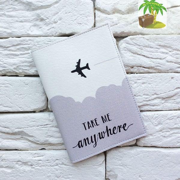 Главное фото паспортная обложка Take me anywhere gray. Коллекция обложек Путешествуй!
