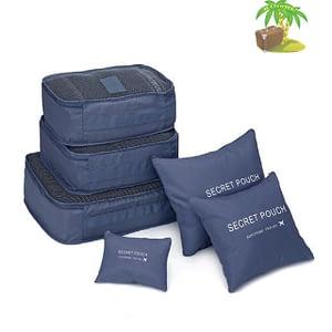 DS-10S Главное фото малый набор 6шт. тканевых сумочек в чемодан синего цвета. Товары для отдыха. Интернет-магазин В Отпуск