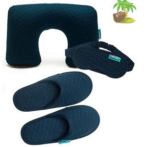 Главное фото синий тревел-сет: подушка, маска для сна и тапочки. Товары для отдыха. Интернет-магазин В Отпуск