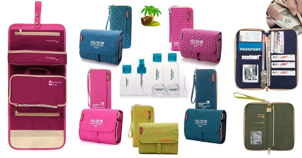 Фото для соцсетей подарочный набор тройка косметичка, органайзер и набор бутылочек. Товары для отдыха. Интернет-магазин В Отпуск