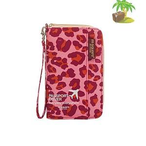 DOP-029 Компактный органайзер для документов, посадочных талонов, билетов, купюр и паспортов розовый леопард главное фото