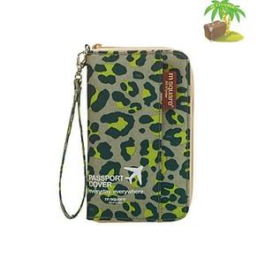 DOP-043 Компактный органайзер для документов, посадочных талонов, билетов, купюр и паспортов зеленый леопард главное фото