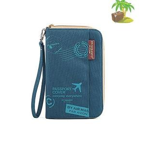 DOP-052 Компактный органайзер для документов, посадочных талонов, билетов, купюр и паспортов синий с принтом главное фото