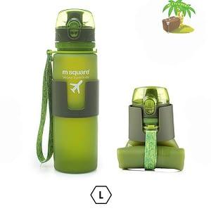 Главное фото зеленая бутылка для воды из мягкого силикона размер L 500мл. Товары для отдыха. Интернет-магазин В Отпуск