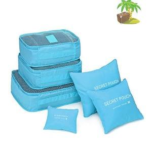 DS-09G Главное фото малый набор 6шт. тканевых сумочек в чемодан голубого цвета. Товары для отдыха. Интернет-магазин В Отпуск