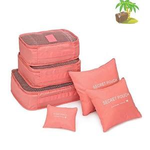DS-11T Главное фото малый набор 6шт. тканевых сумочек в чемодан кораллового цвета. Товары для отдыха. Интернет-магазин В Отпуск