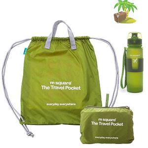 Главное фото зеленый тревел-сет водонепроницаемая сумка-рюкзак и бутылка для воды. Товары для отдыха. Интернет-магазин В Отпуск