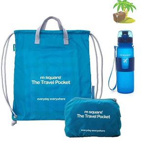 Главное фото голубой тревел-сет водонепроницаемая сумка-рюкзак и бутылка для воды. Товары для отдыха. Интернет-магазин В Отпуск